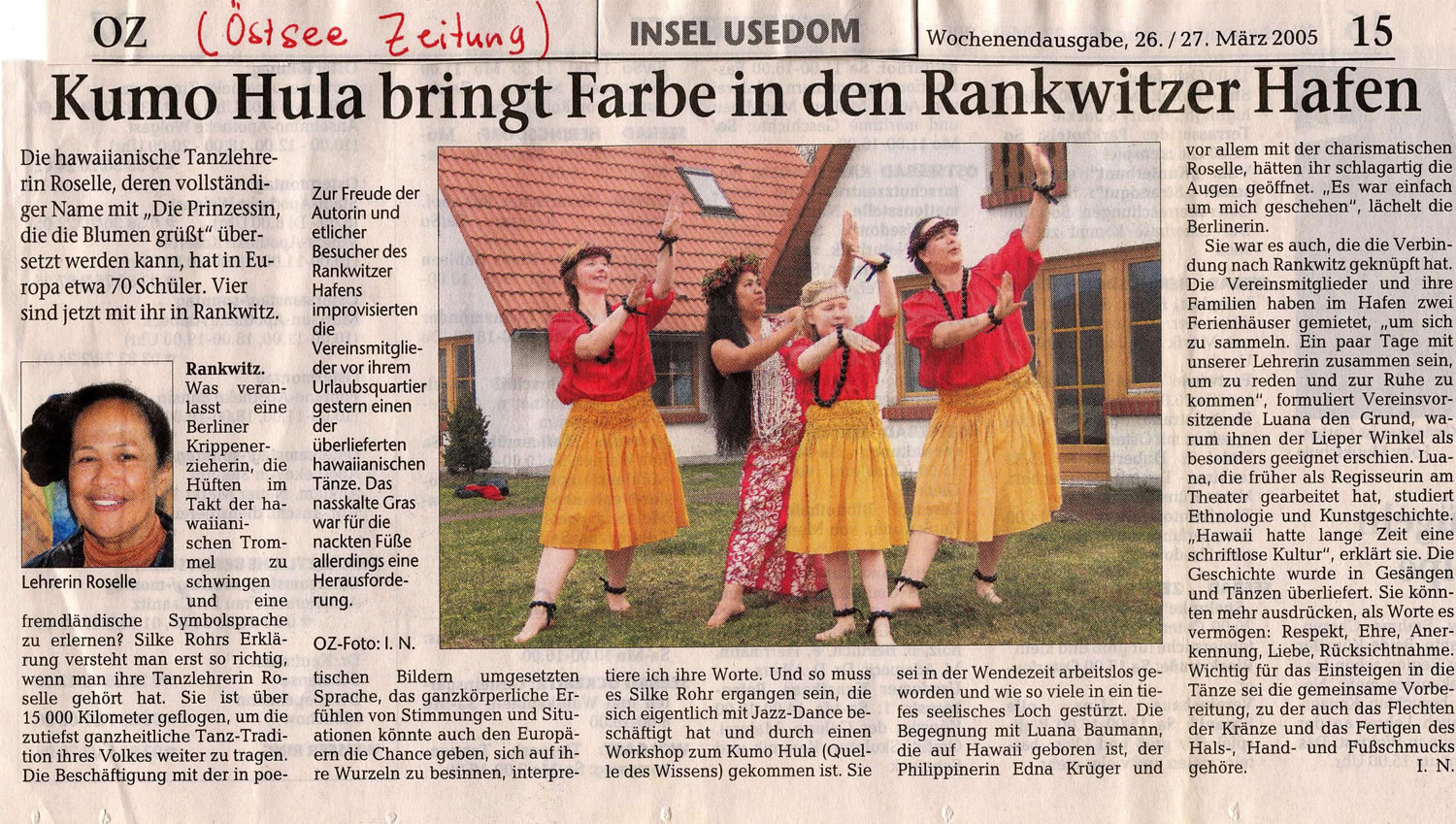 Article from Oestee Newspaper in Northern Germany