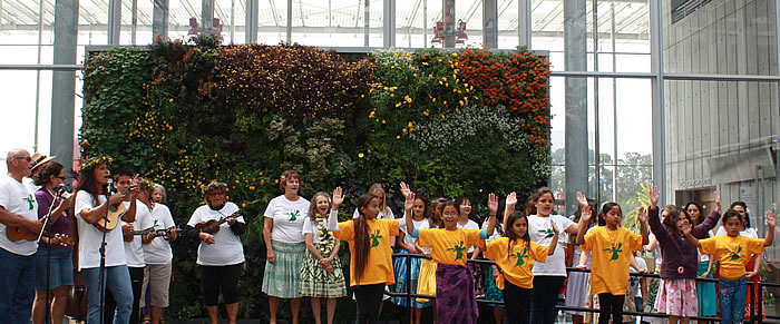 "Hula in front of the Science Academy's ""Living Wall"" June 2014"